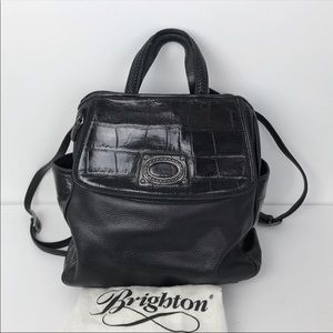 Brighton Pebbled Leather Croc Embossed Backpack